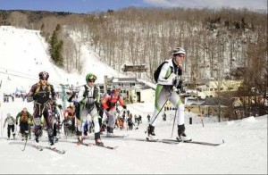 Jeb Wallace-Brodeur / Staff Photo Skiers get off to a mass start to the annual Mad River Valley Ski Mountaineering Race that begins at Mad River Glen and ends at Sugarbush Resort.