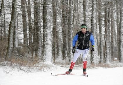 Jeb Wallace-Brodeur / Staff Photo Ryan Kerrigan works out at the Trapp Family Lodge touring center in Stowe.